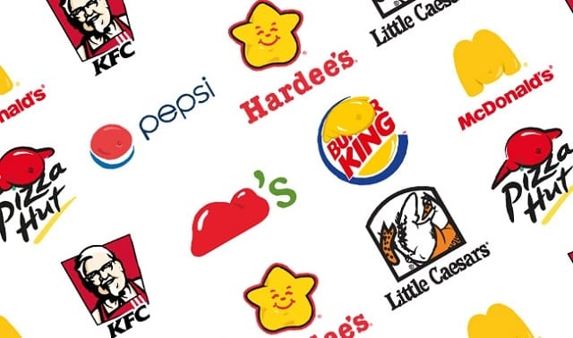 fast food brands logos on flex